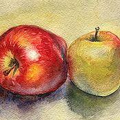 Картины и панно handmade. Livemaster - original item Pictures: Apples: red and green. Watercolor. Handmade.