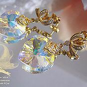 Украшения handmade. Livemaster - original item Earrings gold plated with pendants heart Swarovski Bride. Handmade.