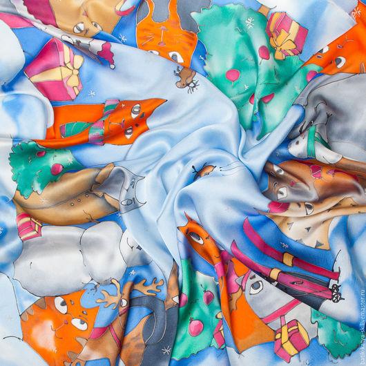 """Шарфы и шарфики ручной работы. Ярмарка Мастеров - ручная работа. Купить Батик шелковый платок """"Котомания. Зимние коты"""". Handmade."""