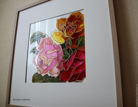 Картины цветов ручной работы. Ярмарка Мастеров - ручная работа. Купить Панно стеклянное Розы, 50х50 см.. Handmade.