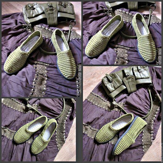 """Обувь ручной работы. Ярмарка Мастеров - ручная работа. Купить Слипоны """"Олива """". Handmade. Оливковый, Балетки на заказ"""
