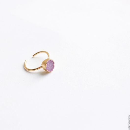 Кольца ручной работы. Ярмарка Мастеров - ручная работа. Купить Кольцо на фалангу с друзой агата Лиловое. Handmade. Розовый