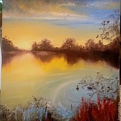 Картины и панно ручной работы. Ярмарка Мастеров - ручная работа рассвет на озере. Handmade.