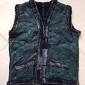 Мужская одежда handmade. Livemaster - original item Sheepskin leather Vest 62-64 green. Handmade.