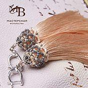 Украшения ручной работы. Ярмарка Мастеров - ручная работа Серьги кисти Peach персиковый+серый. Handmade.