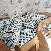 Для дома и интерьера ручной работы. Ярмарка Мастеров - ручная работа Морской стиль. Полутораспальный 1,5 комплект постельного белья. Handmade.
