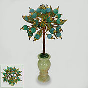 Цветы и флористика handmade. Livemaster - original item Tree of happiness from a green agate in a vase of onyx. Handmade.