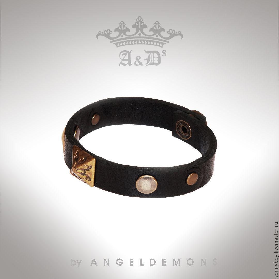 Браслет из кожи - Bracelet Black Brass Piramid