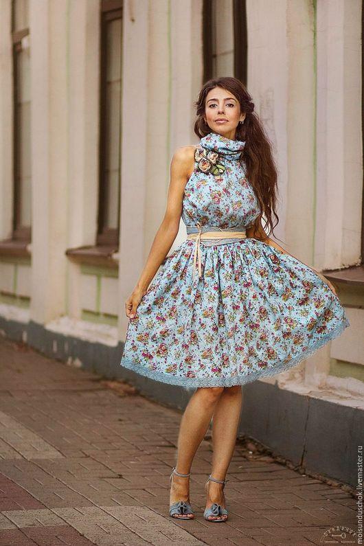 """Платья ручной работы. Ярмарка Мастеров - ручная работа. Купить Платье """" Окна в сад"""". Handmade. Голубой, женственное платье"""