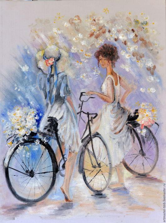 Репродукции ручной работы. Ярмарка Мастеров - ручная работа. Купить Девушки на велосипеде 30х40. Handmade. Белый, девушка на велосипеде