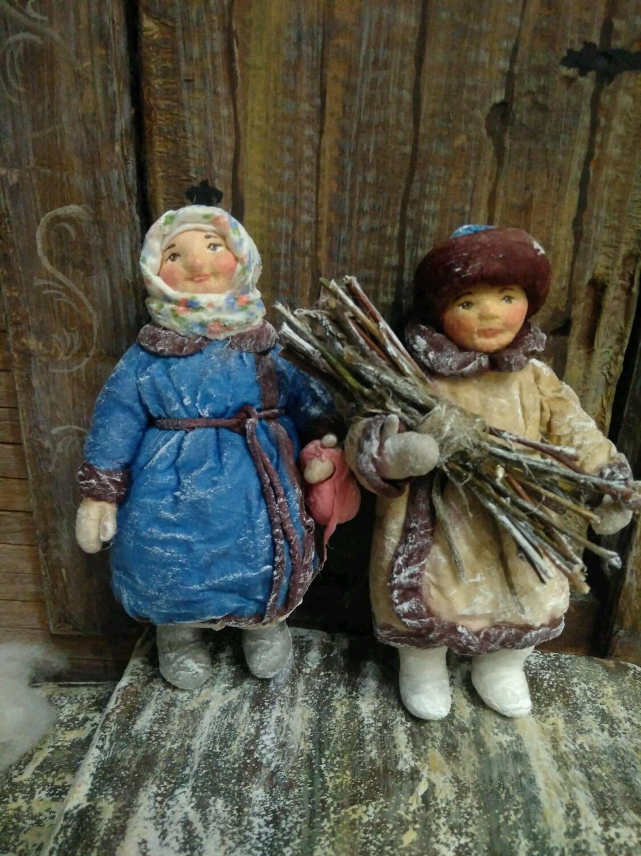Деревенские детки. Ватная елочная игрушка, Народная кукла, Видное,  Фото №1