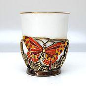 Чашки ручной работы. Ярмарка Мастеров - ручная работа Чашка Бабочки. Handmade.