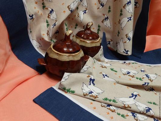 Кухня ручной работы. Ярмарка Мастеров - ручная работа. Купить Полотенце льняное Гуси. Handmade. Бежевый, гуси, кухонные аксессуары