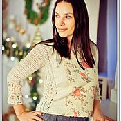 Одежда handmade. Livemaster - original item Crochet sweater with felting. Handmade.