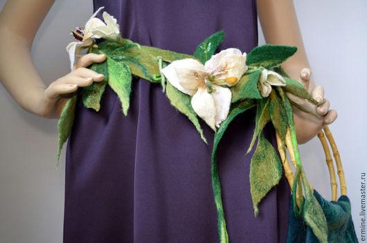 """Пояса, ремни ручной работы. Ярмарка Мастеров - ручная работа. Купить Пояс """"Лилия"""". Handmade. Зеленый, пояс, пояс женский"""