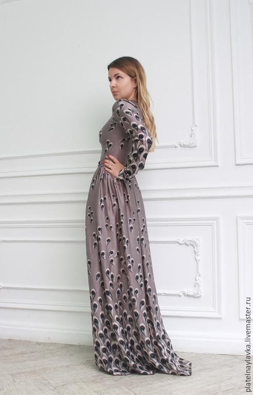 """Платья ручной работы. Ярмарка Мастеров - ручная работа. Купить Платье """"Павлин"""". Handmade. Серый, шелковое платье, платье"""