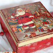 Сувениры и подарки handmade. Livemaster - original item Christmas tree toys in a box Santa Claus decoupage. Handmade.