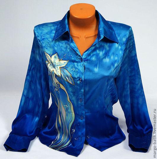 """Блузки ручной работы. Ярмарка Мастеров - ручная работа. Купить Блуза-батик """"Очарование"""". Handmade. Блузка, блузка нарядная, шелк"""