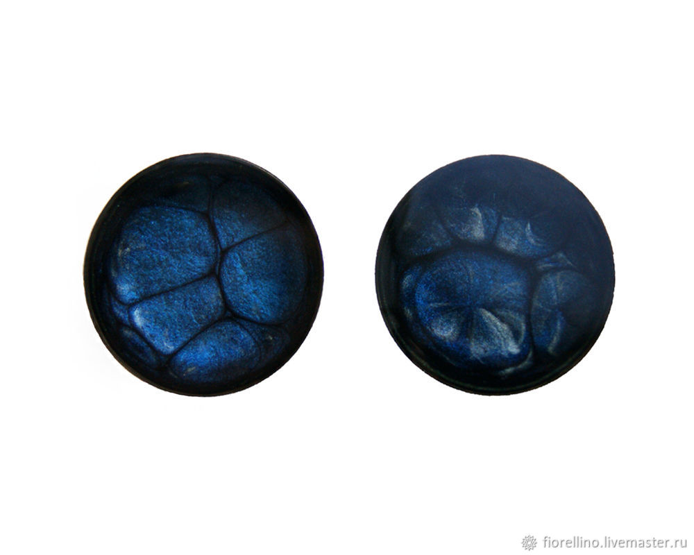 Cufflinks with painted blue color, Cuff Links, Moscow,  Фото №1