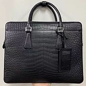 Сумки и аксессуары handmade. Livemaster - original item Briefcase-bag made of the abdominal part of crocodile skin, in black.. Handmade.