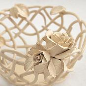 handmade. Livemaster - original item The Cream roses candy bowl 15cm. Handmade.