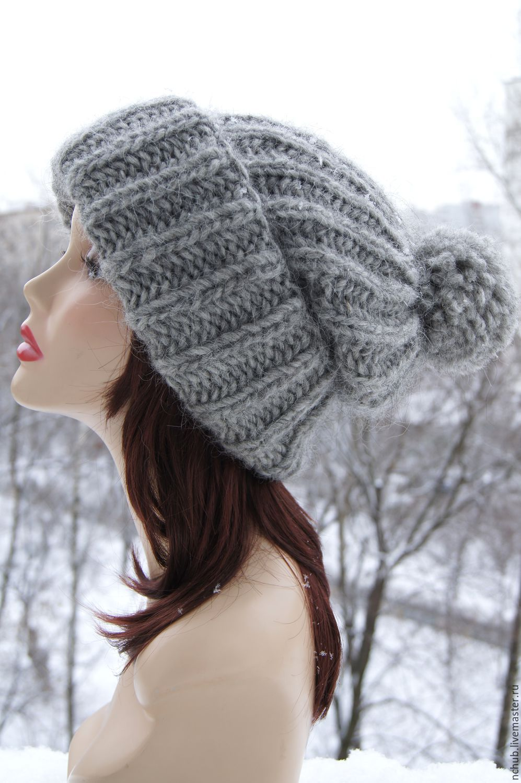 63f0f58c83e Hats handmade. Livemaster - handmade. Buy Warm Grey knitted oversized hat  made of Icelandic ...