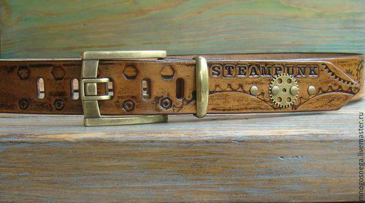 Пояса, ремни ручной работы. Ярмарка Мастеров - ручная работа. Купить Ремень кожаный Steampunk B. Handmade. Коричневый
