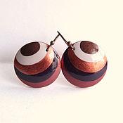 """Украшения ручной работы. Ярмарка Мастеров - ручная работа Серьги из дерева """"Шоколад"""" с ручной росписью. Handmade."""