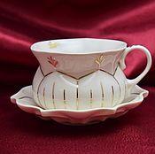"""Посуда ручной работы. Ярмарка Мастеров - ручная работа Кофейная пара """"Тыква"""" белая. Handmade."""