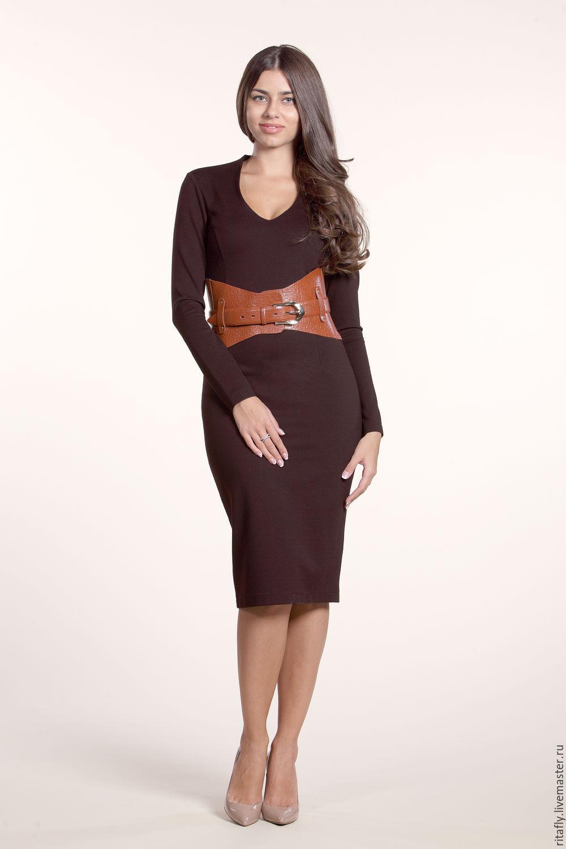 143: Платье футляр коричневое офисное из джерси, Платья, Москва,  Фото №1