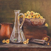Картины и панно ручной работы. Ярмарка Мастеров - ручная работа Вино из одуванчиков. Handmade.