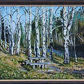 Картины и панно handmade. Livemaster - original item oil painting of Birch.Cottage artists. Handmade.