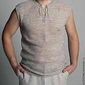 Одежда handmade. Livemaster - original item men`s jumper sleeveless 100% flax yarn knitted on the machine. Handmade.