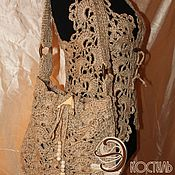 Одежда handmade. Livemaster - original item Vest knitted boho elegant.jute.. Handmade.