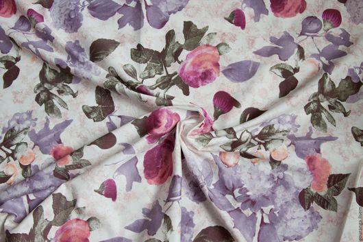 """Шитье ручной работы. Ярмарка Мастеров - ручная работа. Купить Сатин """"Великолепие"""". Handmade. Ткань для шитья, розы, эластан"""