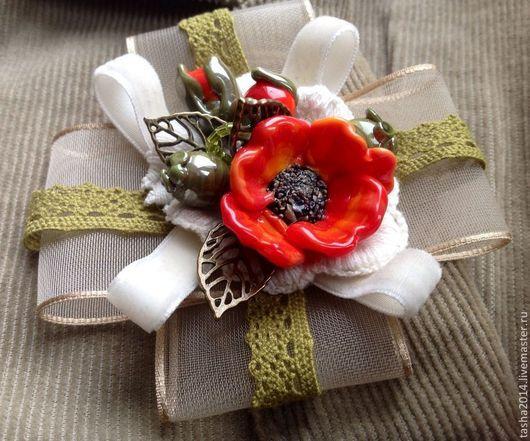 """Броши ручной работы. Ярмарка Мастеров - ручная работа. Купить Брошь """"Маки"""". Handmade. Рыжий, брошь цветок, брошь из ткани"""