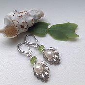 Украшения handmade. Livemaster - original item Earrings with pearls and peridot