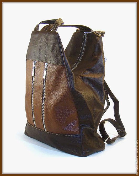 Рюкзаки ручной работы. Ярмарка Мастеров - ручная работа. Купить Рюкзак кожаный Рыжий с коричневым. Handmade. Кожаный рюкзак