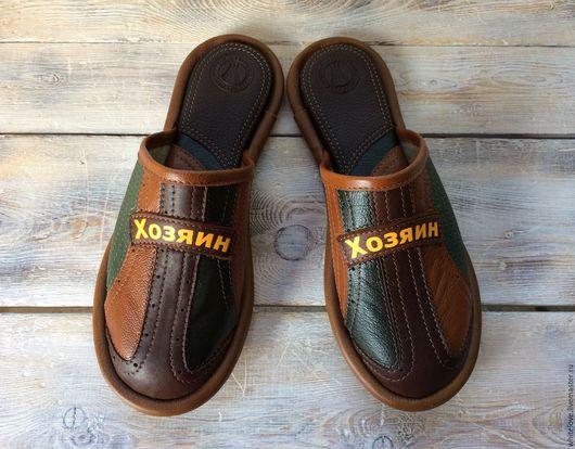 """Обувь ручной работы. Ярмарка Мастеров - ручная работа. Купить Кожаные тапочки """" Хозяин"""". Handmade. Комбинированный, обувь для дома"""