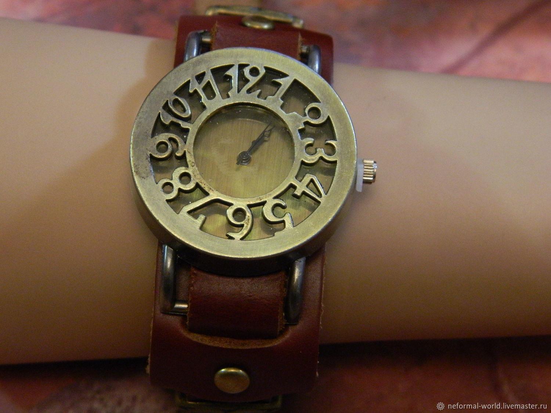 CASUAL 'RETRO CHARM' QUARTZ WATCH, GENUINE LEATHER, Watches, Saratov,  Фото №1
