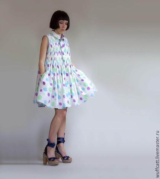 Платья ручной работы. Ярмарка Мастеров - ручная работа. Купить Платье-Сарафан из хлопка в стиле Baby Doll с рисунком Polka Dot. Handmade.