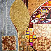 Картины и панно handmade. Livemaster - original item Bright gold the picture Sunny abstraction of geometry, Gustav Klimt. Handmade.