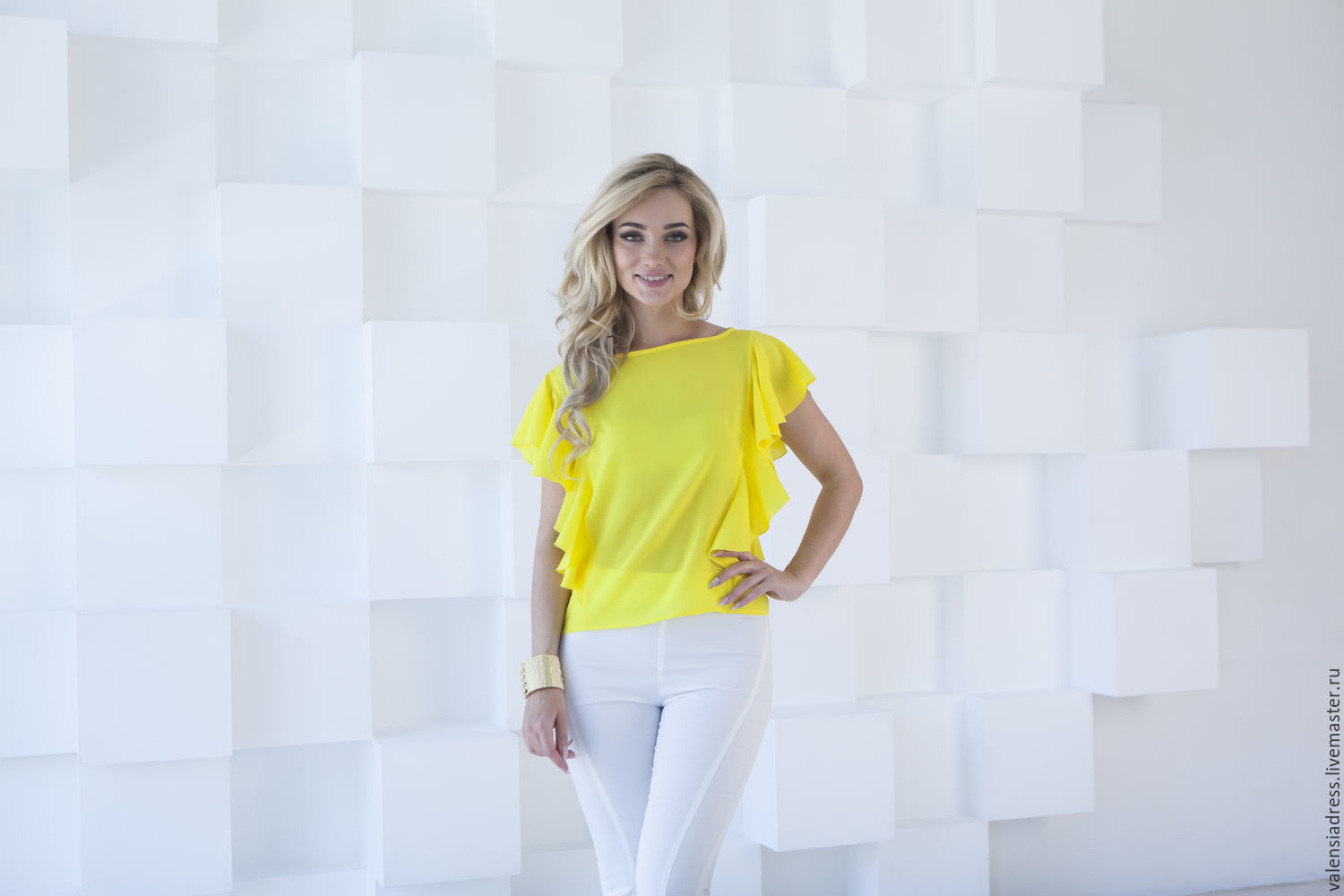 Blouse summer blouse yellow with ruffles, Blouses, St. Petersburg,  Фото №1