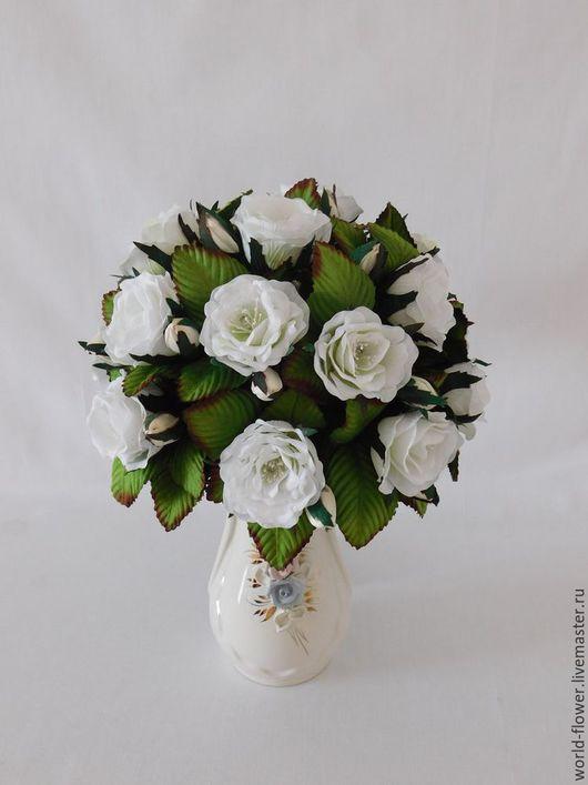 """Освещение ручной работы. Ярмарка Мастеров - ручная работа. Купить Букет-светильник """"Белые Розы"""". Handmade. Белый, розы ночник"""