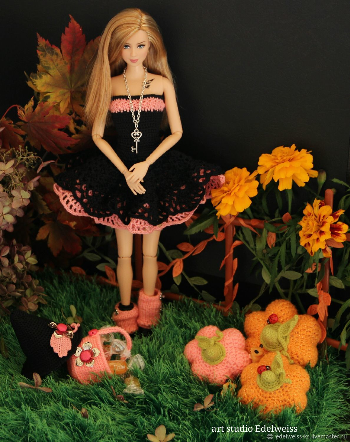Halloween. Fishnet dress 'Sabrina' for Barbie, Clothes for dolls, Vladivostok,  Фото №1
