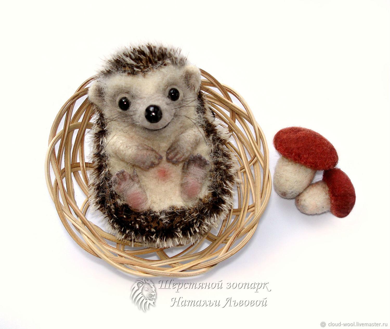 Brooch hedgehog Fawn felted wool pin app dry felting, Jerzy, Brooches, Sochi,  Фото №1