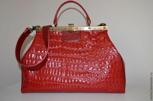 Женские сумки ручной работы. Ярмарка Мастеров - ручная работа. Купить Ярко-красный саквояж. Handmade. Ярко-красный