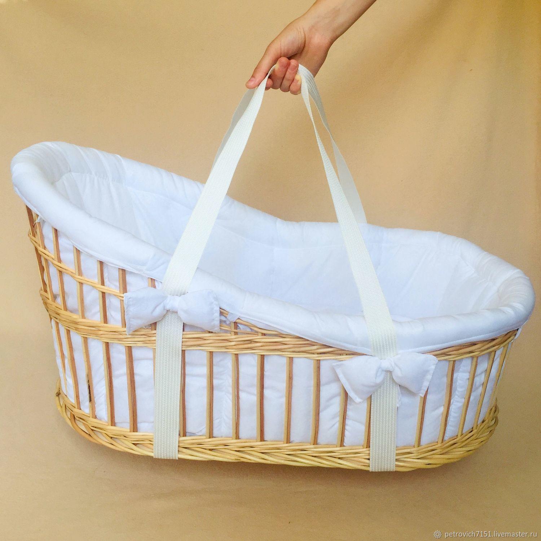 Moses basket, bassinet, wicker cradle with bedding, Cradles, Cheremshanka,  Фото №1