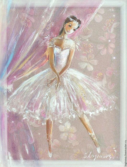 Люди, ручной работы. Ярмарка Мастеров - ручная работа. Купить Маленькая Балерина -картина на шелке. Handmade. Белый