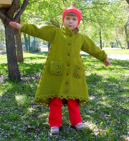 Одежда для девочек, ручной работы. Ярмарка Мастеров - ручная работа. Купить пальто Слоненок вязаное детское авторское. Handmade. Хаки
